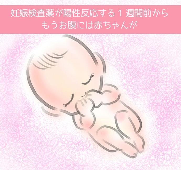 妊娠検査薬陽性反応の一週間前に妊娠している